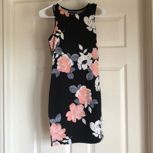 Pretty Little Thing black floral print dress
